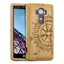 WOOD COVER FOR LG G4 LIGHT BROWN BAMBOO COMPASS CASE BACK HARD NATURAL MOBILE