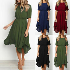 Ladies Women Plain Asymmetric Midi Dress Summer Casual Short Sleeve Sun Dresses