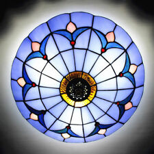 2-lights Stained Glass Flush Mount Big Ceiling Light Fixture in Tiffany Style