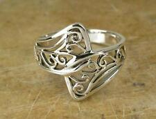 STUNNING STERLING SILVER FILIGREE OVERLAP RING size 8  style# r0624