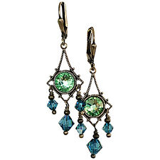 Boho Bronze Vintage Filigree Chandelier Earrings with Rhinestones and Crystals