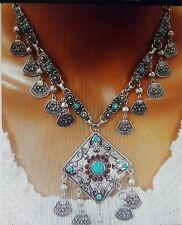 UK Women Gypsy Ethnic Tribal Turkish Boho Coin Chain Gem Tassel Necklace Jewelry