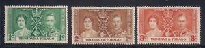 Trinidad & T.  1937   Sc # 47-49   Coronation   MLH   (5043-)