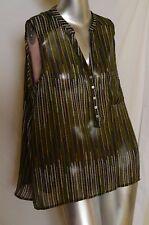H&M Women's Semi Sheer Sleeveless 3/4 Button Shirt Stripes High/Low Hem Sz 12