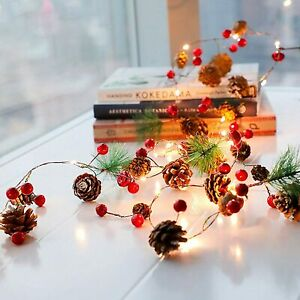 Christmas Pine Cone LED String Light Fairy Copper Wire Tree Garland Decorations