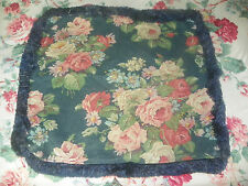 """RALPH LAUREN- """"AYLESBURY BLUE"""" ZIPPERED PILLOW COVER- ROSES WITH BLUE FRINGE"""