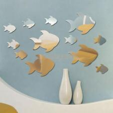 12x Removable Art Modern Fish Mirror Wall Sticker Decal Mural Kids Room Decor