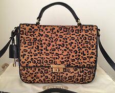 NWT Fossil memoir flap cheetah leather black brown bag purse tote satchel $218