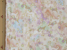 Kokka Unicorn Design Japanese Fabric / Double Gauze Peach - 110cm x 50cm