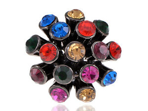 Gorgeous Disco Ball Colored Rhinestone Gems Fashion Cocktail Cute Sized Ring New