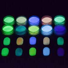Neon Colors Phosphorescent FLUORESCENT Powder Glow In Dark Nail Art Acrylic
