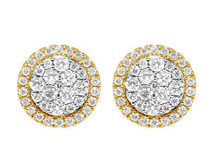 14K Yellow Gold Ladies Real Diamond Round Halo Cluster Stud Earrings 1.50ct 11MM