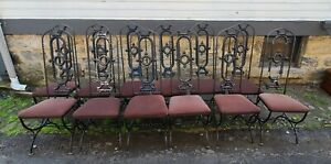 Set 12 Vintage 1960s Gothic Spanish Revival Wrought Iron Dining Room Chairs