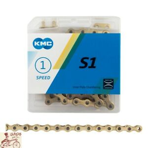 "KMC S1   1/2"" x 1/8"" 112L BMX SINGLE SPEED GOLD BIKE CHAIN"