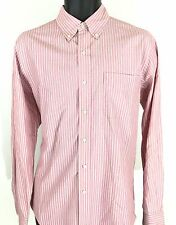 Ralph Lauren Custom Fit L/S Button Down Shirt Mens Sz MED 15.5 PINK WHITE STRIPE
