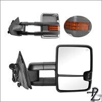 Power Heated Chrome Signal Tow Towing Mirror Pair Set For 14-18 Silverado Sierra