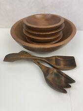 VTG 7pc Set Woodcroftery Salad Serving Bowls Tongs Set Mid Century USA Teak Wood