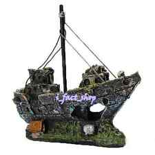 Resin Fishing Boat Sailing Boat For Aquarium Fish Tank Ornament Decoration IFA