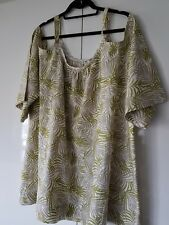 *NEW* Kerrina Lee Womens Plus Size Cotton  Cold Shoulder Top Palm Leaves Sz 26