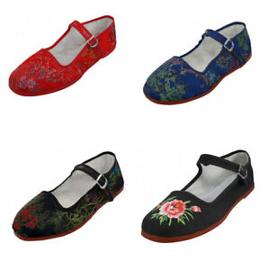New Womens Brocad Mary Jane Shoes Flat Slip On Ballet Sandals Colors, Sizes 5-11