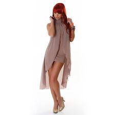 Abito vestito donna miniabito corto velato plissettato asimmetrico ruches nuovo