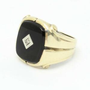 Vintage SP Co 10k Yellow Gold Onyx & Diamond Pinky Ring Size 8 x 6 Grams NICE