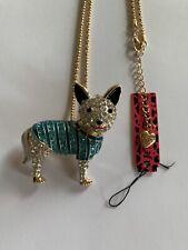 Betsey johnson enamel blue & WHITE rhinestone dog W-SWEATER necklace-BJ50522