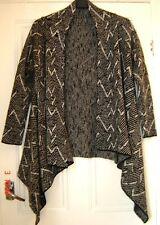 Black & grey zig-zag, medium knit waterfall cardigan Size large. Ex. cond.