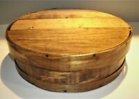 """Vtg / Antique Primitive Cheese Box 11"""" Dia.Round Bent Wood Stained & Finished"""