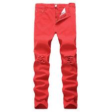 Hombre Rasgado Recto Vaqueros Entallado Pitillo Pantalones Denim 7 Colores