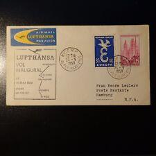 AVIATION LETTRE COVER PREMIER VOL NICE HAMBOURG ALLEMAGNE 1959