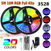 5M 10M 3528 SMD RGB 60LEDs/M LED Light Strip+44Key Remote Control+12V US Power
