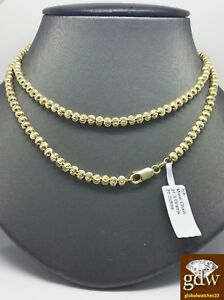 Real 10k Yellow Gold Moon Cut Chain Necklace 28Inch 4mm Diamond Cut Rope Cuban