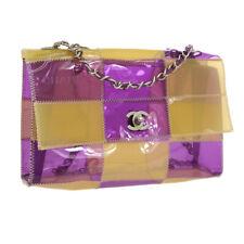 Auth CHANEL Quilted CC Double Chain Shoulder Bag Beige Purple Vinyl VTG GS02049