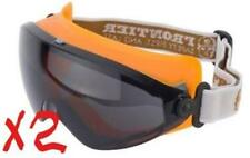 2 PAIR of FRONTIER CLARITY Safety Goggles - SMOKE Lens Adjustable Elastic Strap