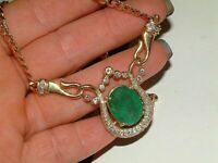2.50ct Green Emerald & Diamond Pendant Necklace For Women's 14K Yellow Gold Over