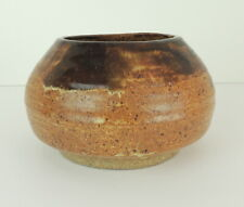 VTG Hand Wheel Thrown Clay Bowl Pottery Signed Brown Beige Natural Primitive