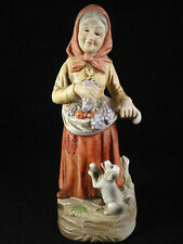 Ceramic Figurine Old Woman Lady with her Dog Harvesting Grapes 8 Inches Tall