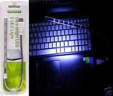 New Flexible USB 5 LED Ultra Bright White Light for PC Laptop Keyboard Reading