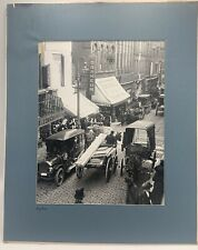 Large Antique 1910 Silver Print Photo Winter Street Boston 11x14 Numbered Matted