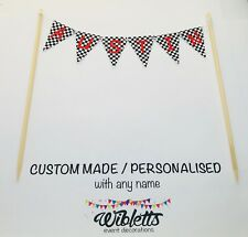 CHEQUERED FLAG RACING CAR MOTORBIKE BIRTHDAY CAKE TOPPER BUNTING CUSTOM ANY NAME