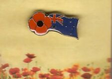 AUSTRALIAN FLAG POPPY LAPEL PIN  - REMEMBERANCE DAY NOV 11th