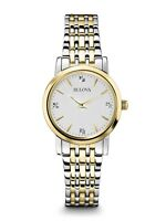 Bulova Women's 98P115 Quartz Diamonds White Dial Two-Tone Bracelet 27mm Watch