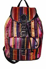 Moroccan Backpack Shoulder Bag Travel Bag Hiking Genuine Leather Fabric Black