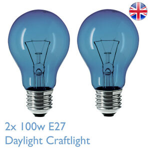 2X 100w E27 Daylight Craftlight GLS Blue Filter Bulb Lamp SAD Therapy Crafts