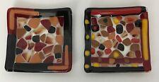 2 Small Fused Art Glass Square Decorative Plates Red Black Multi-Color
