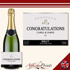 L62 Personalised Prosecco Silver Engagement Wedding Brut Bottle Label - Gift!