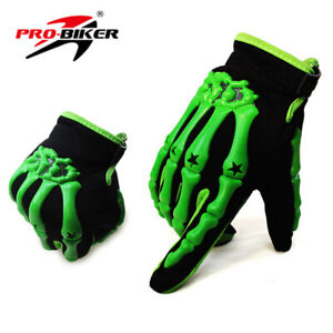 Outdoors Men Cycling Bike Motorcycle Skull Bone Skeleton Goth Full Finger Gloves