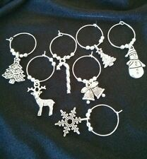 Set Christmas Xmas Wine Glass Charms Snowman Tree Candy Cane Reindeer Snowflake