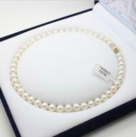 "18"" Gorgeous AAA 9-10mm real natural South sea white pearl necklace 14k Gold"